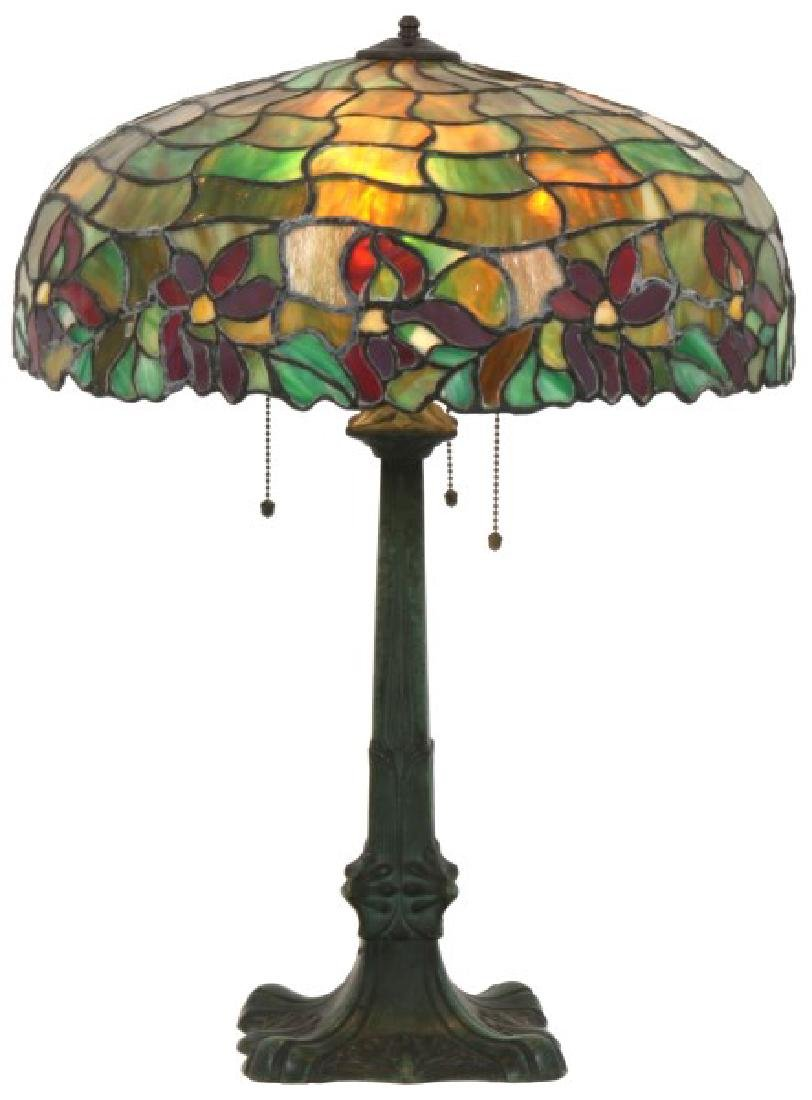 18.5 in. Leaded Poinsettia Table Lamp