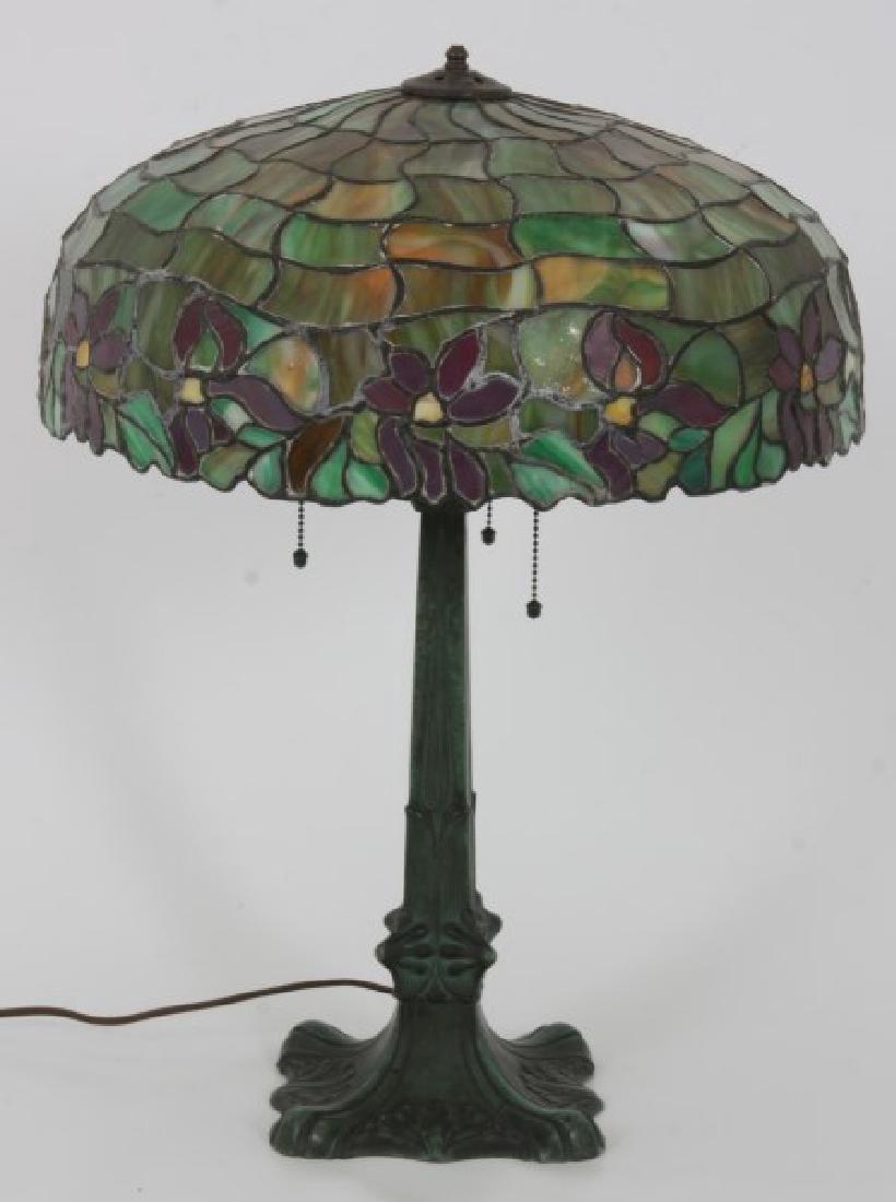 18.5 in. Leaded Poinsettia Table Lamp - 3