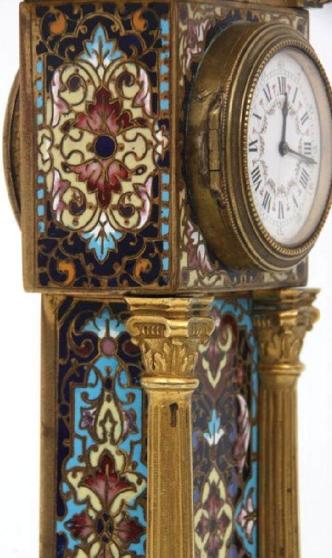 French Chempleve & Brass Miniature Clock - 10