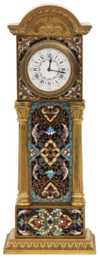 French Chempleve & Brass Miniature Clock