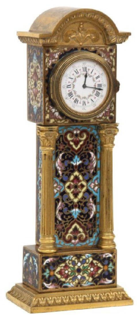 French Chempleve & Brass Miniature Clock - 2