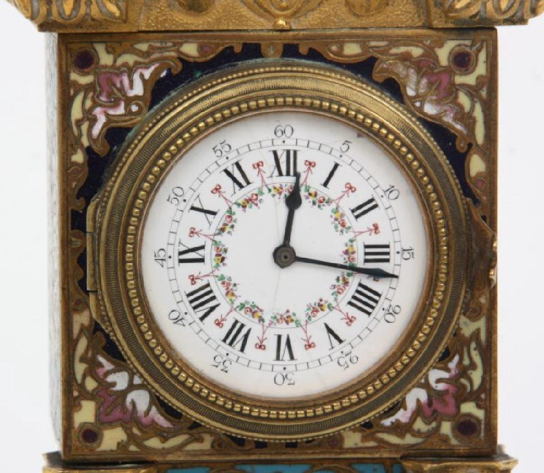 French Chempleve & Brass Miniature Clock - 3