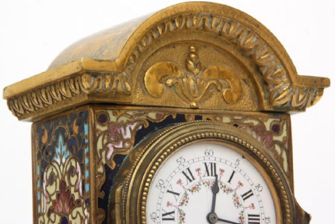 French Chempleve & Brass Miniature Clock - 9