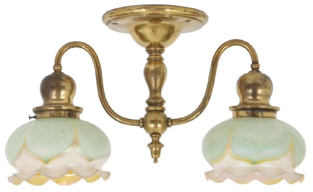 2 Light Quezal Pulled Feather Ceiling Fixture