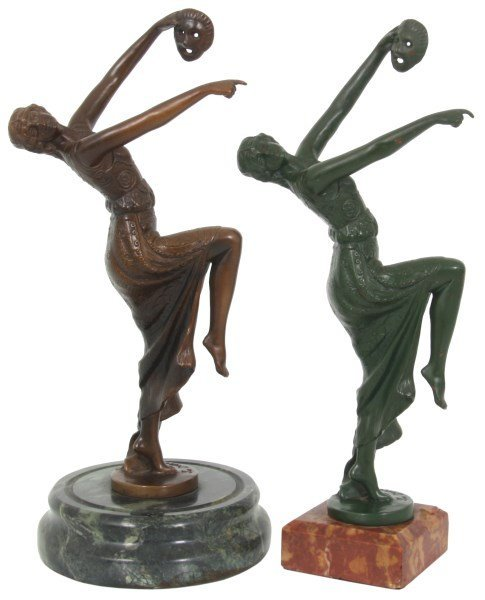 2 Joe Descomps Bronze Figural Dancer Sculpture