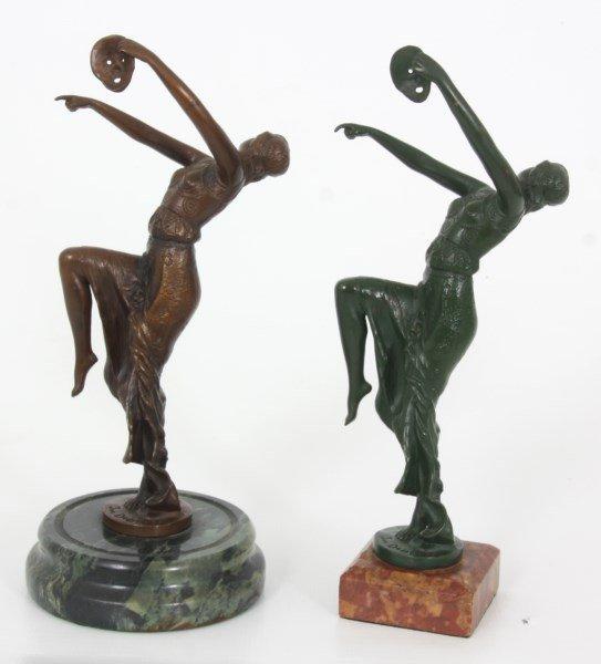 2 Joe Descomps Bronze Figural Dancer Sculpture - 2