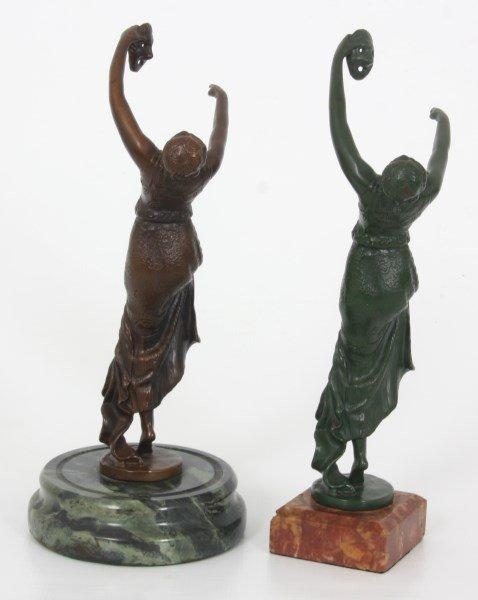 2 Joe Descomps Bronze Figural Dancer Sculpture - 3