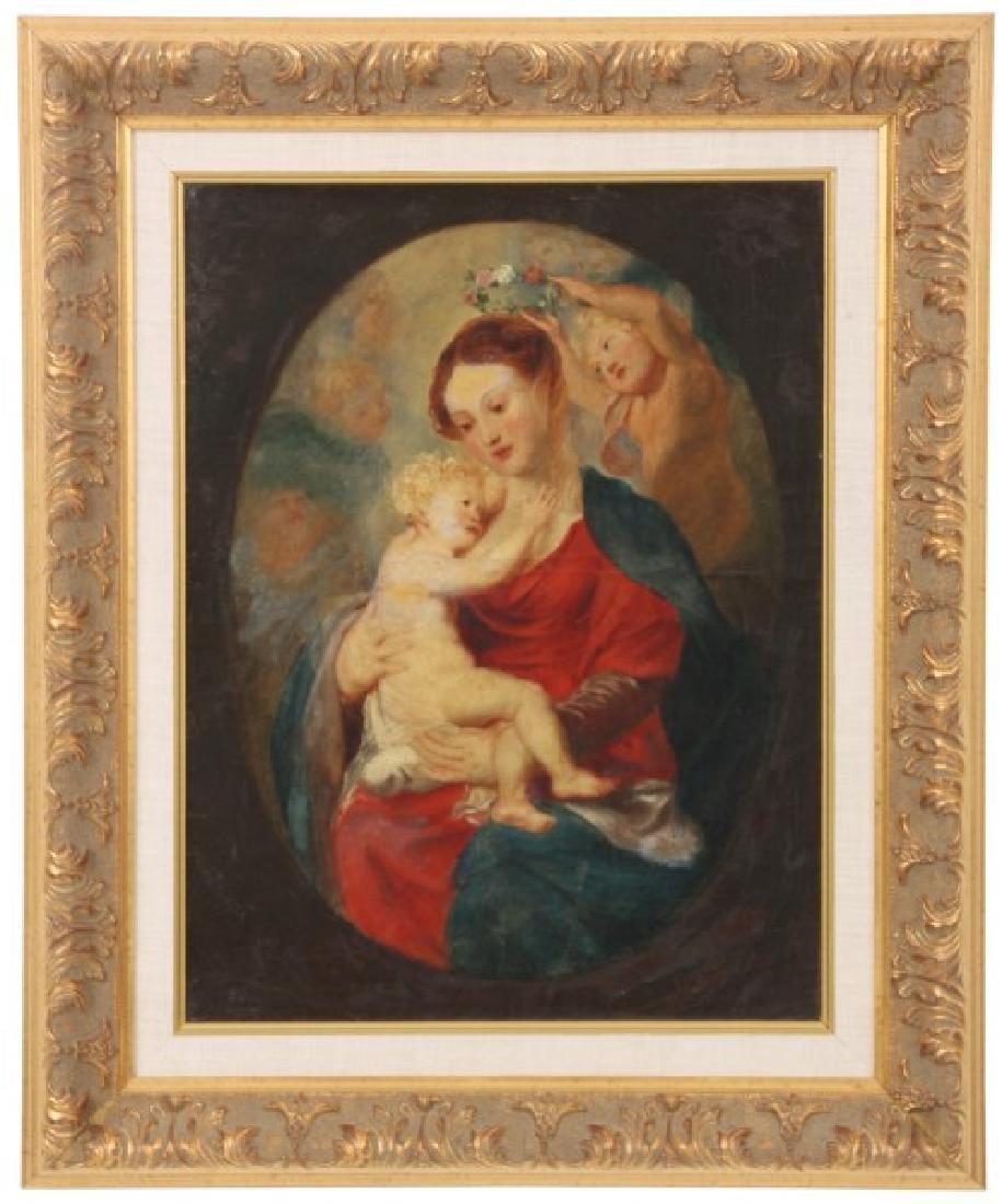 19th C. Oil On Canvas Madonna & Child