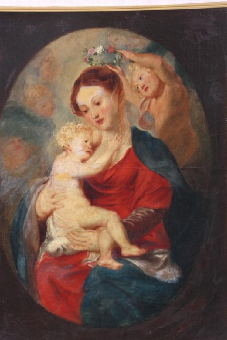 19th C. Oil On Canvas Madonna & Child - 4