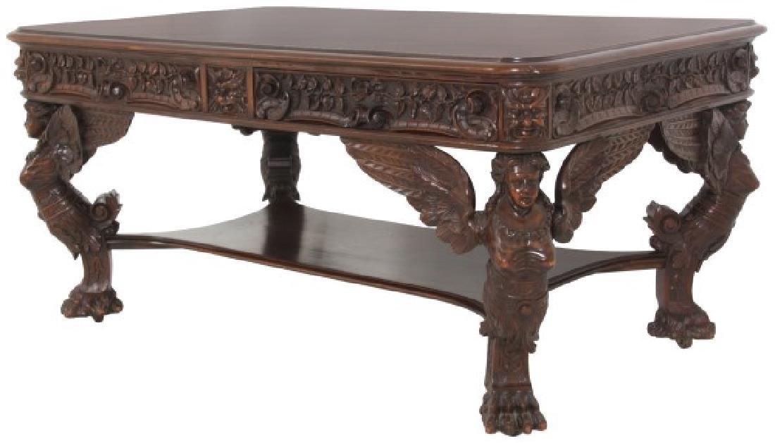 RJ Horner Winged Maiden Mahogany Partners Desk