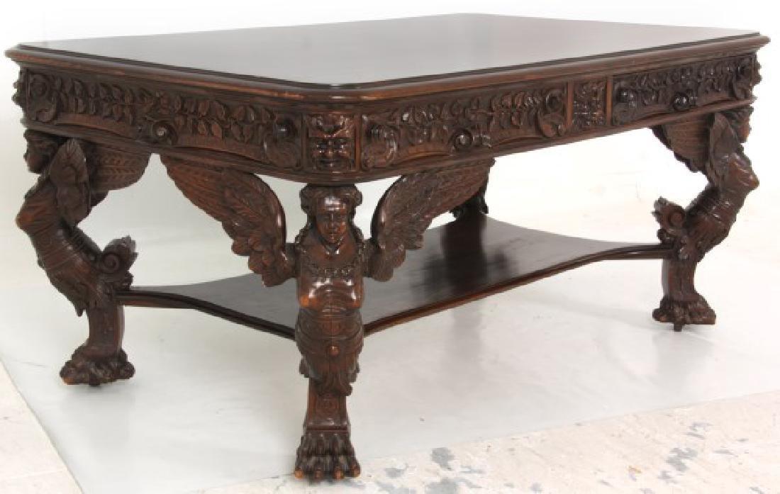 RJ Horner Winged Maiden Mahogany Partners Desk - 2