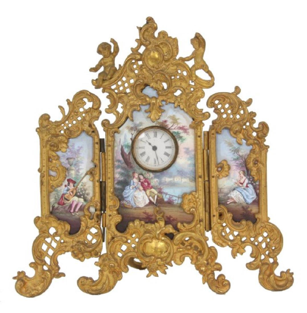 Bronze & Enamel 3 Panel Cabinet Clock