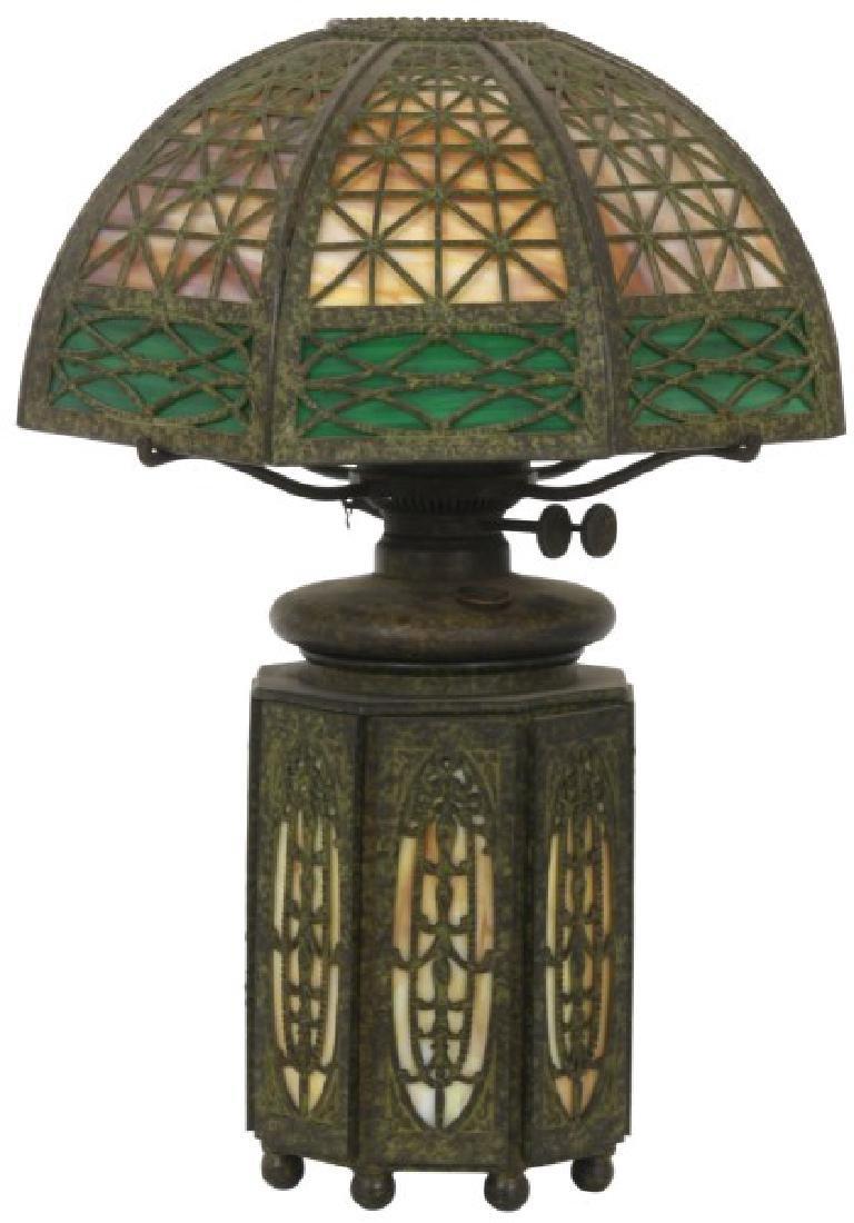 Bradley & Hubbard Overlay Parlor Lamp