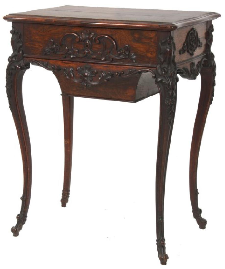 Carved Rosewood Lift Top Sewing Stand