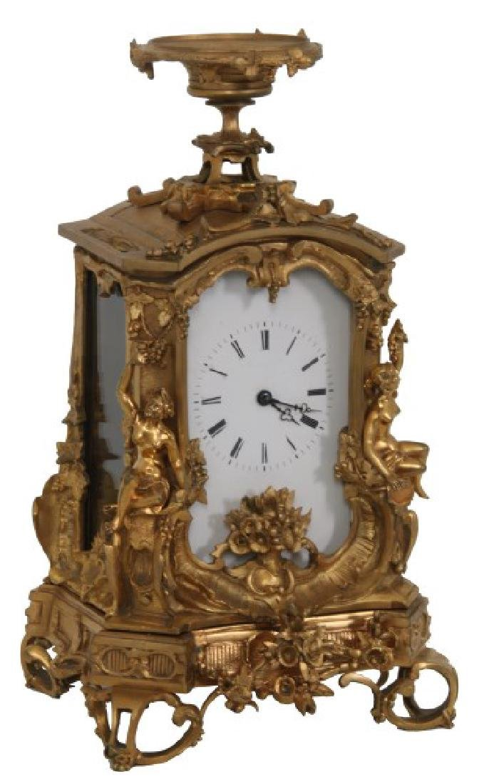 Monumental Gilt Bronze Figural Carriage Clock
