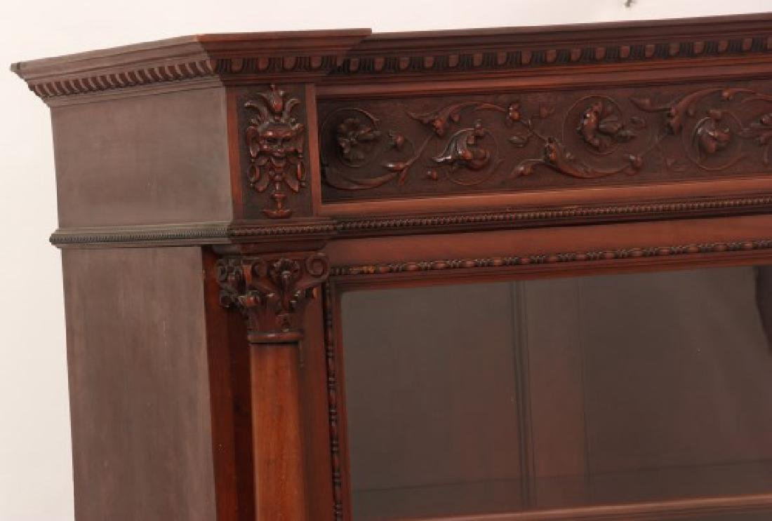 Carved 2 Dr. Mahogany Bookcase - 10