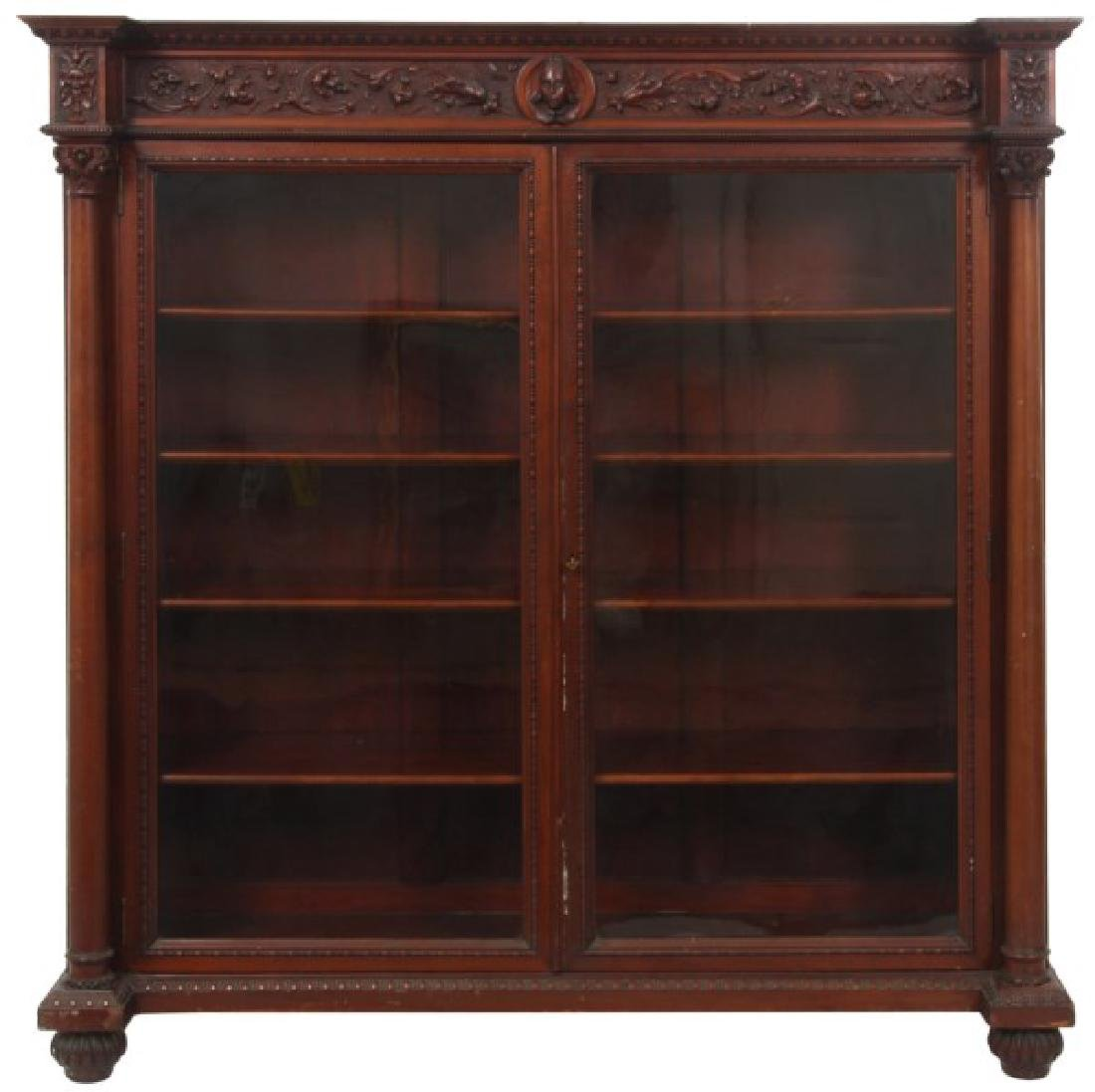 Carved 2 Dr. Mahogany Bookcase