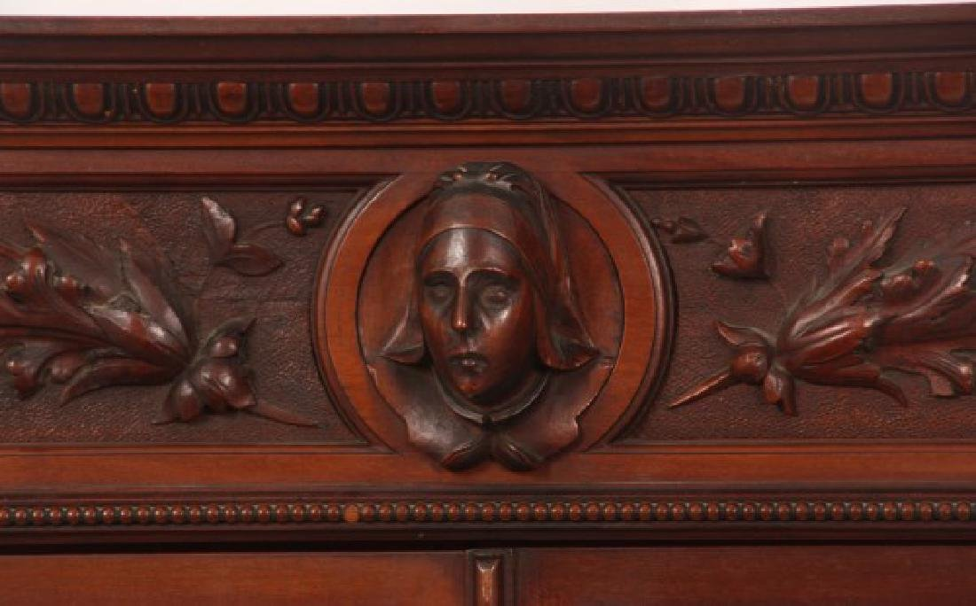 Carved 2 Dr. Mahogany Bookcase - 2