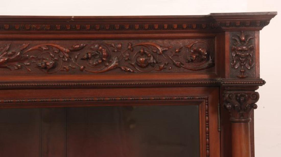Carved 2 Dr. Mahogany Bookcase - 3