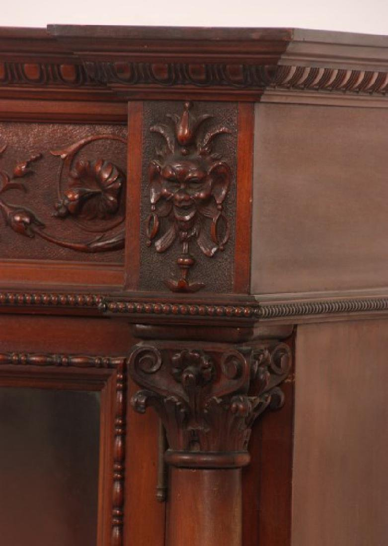 Carved 2 Dr. Mahogany Bookcase - 4