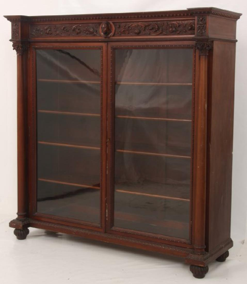Carved 2 Dr. Mahogany Bookcase - 6