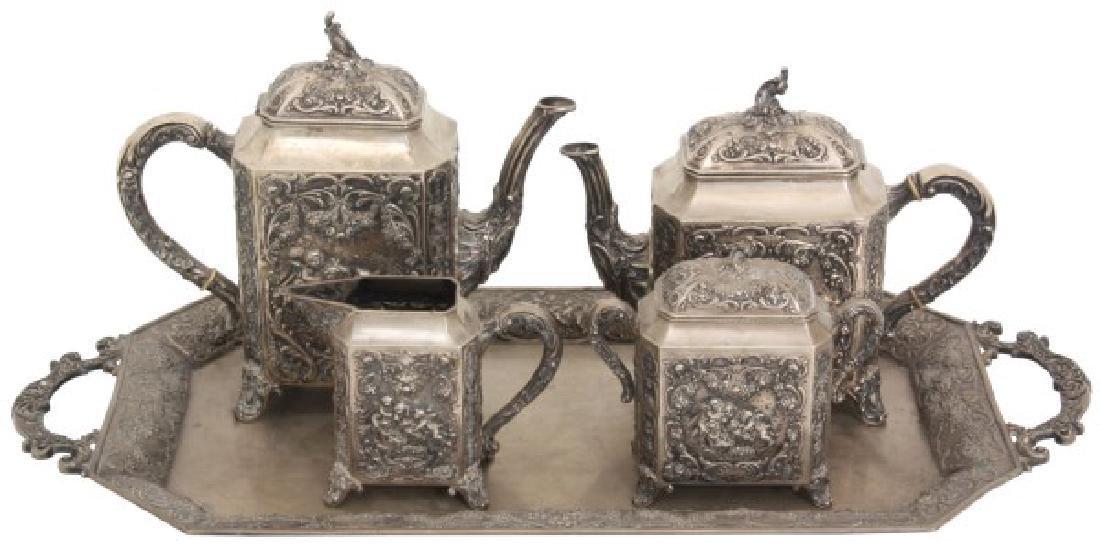 5 Pcs. German 800 Silver Tea Set w/ Tray