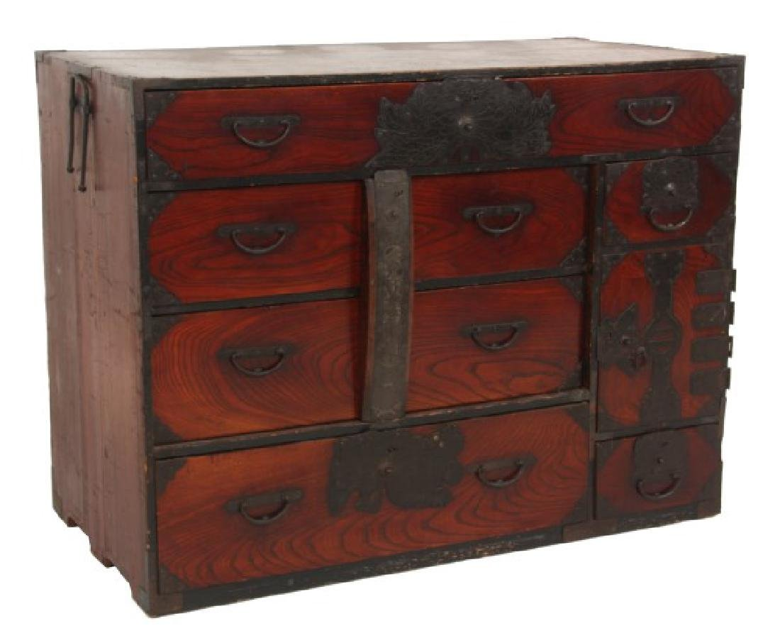 Antique Chinese Pine Tansu, Campaign Chest