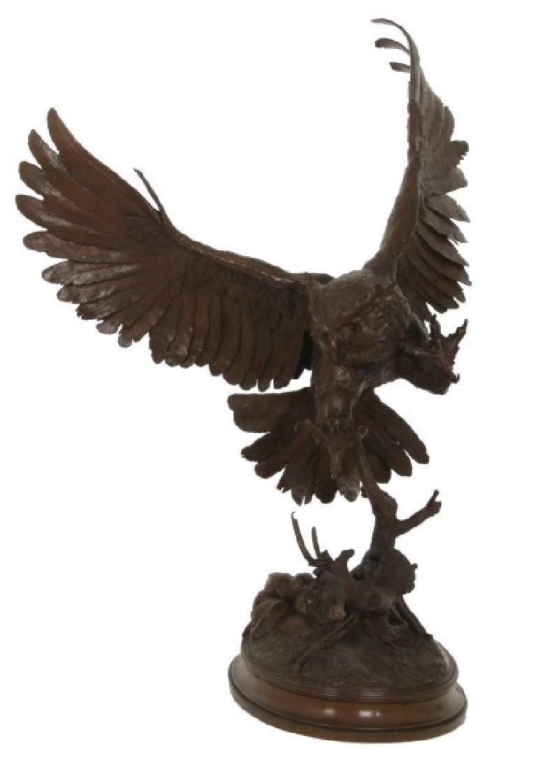 Jules Moigniez Bronze Owl Sculpture