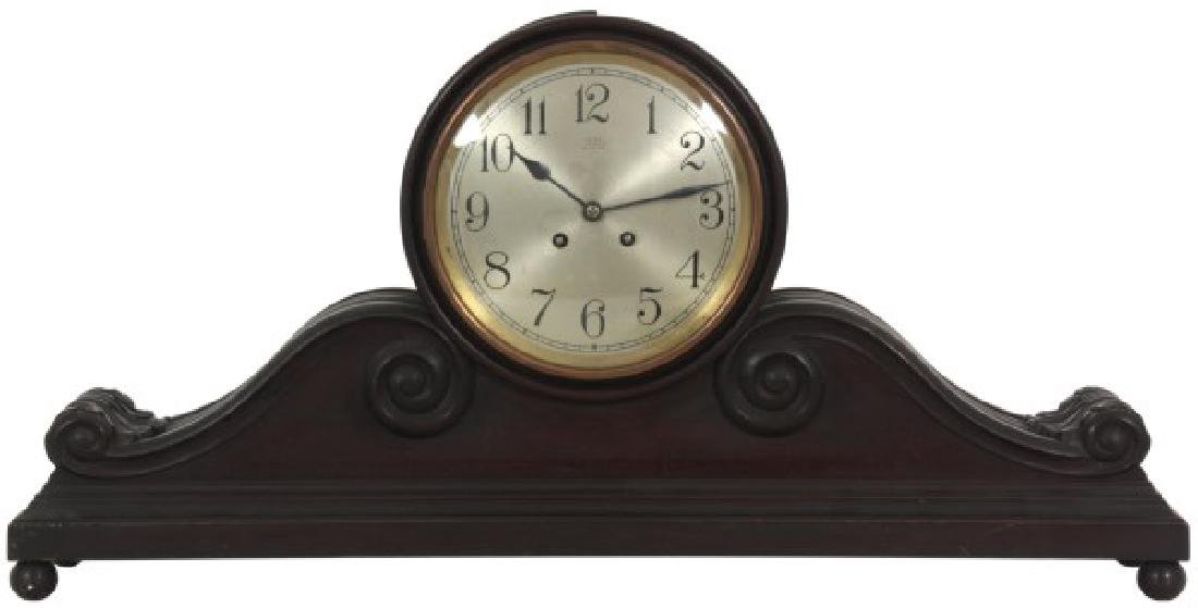 Herschede Carved Mahogany Tambour Mantle Clock