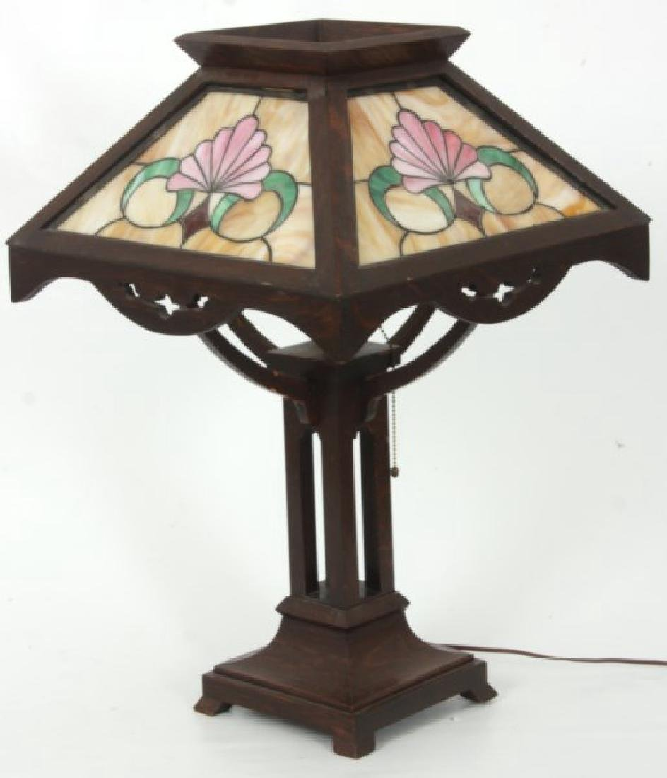 Oak Arts And Crafts Leaded Table Lamp - 2