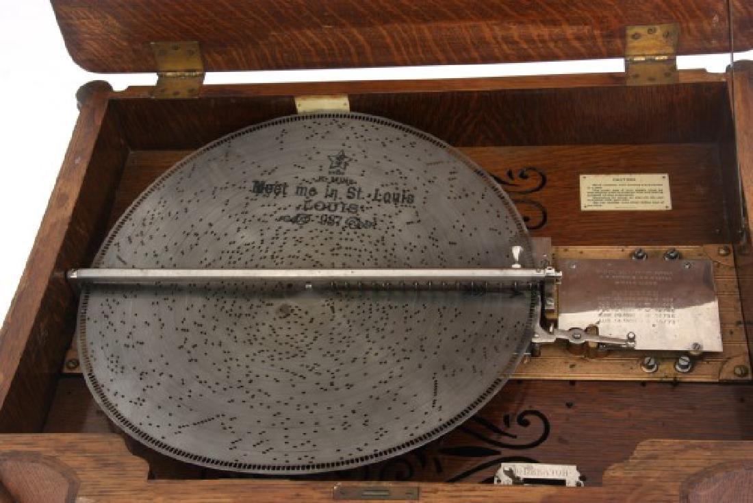 Oak Stella Grand Cabinet Disc Music Box - 5