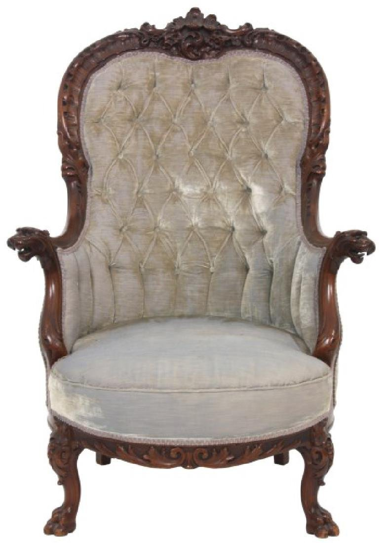 Griffin Carved Mahogany Armchair