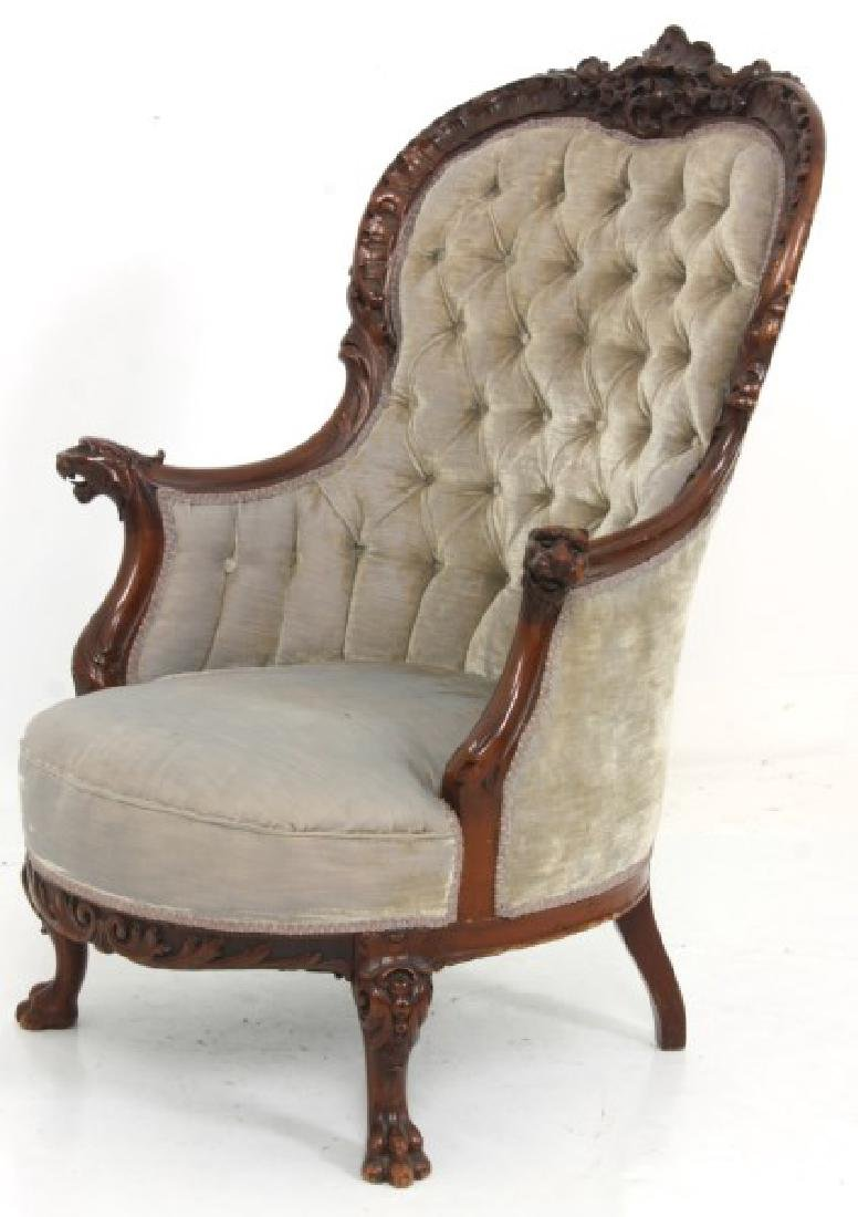 Griffin Carved Mahogany Armchair - 6