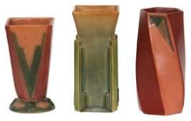 3 Pcs Roseville Pottery Futura Vases
