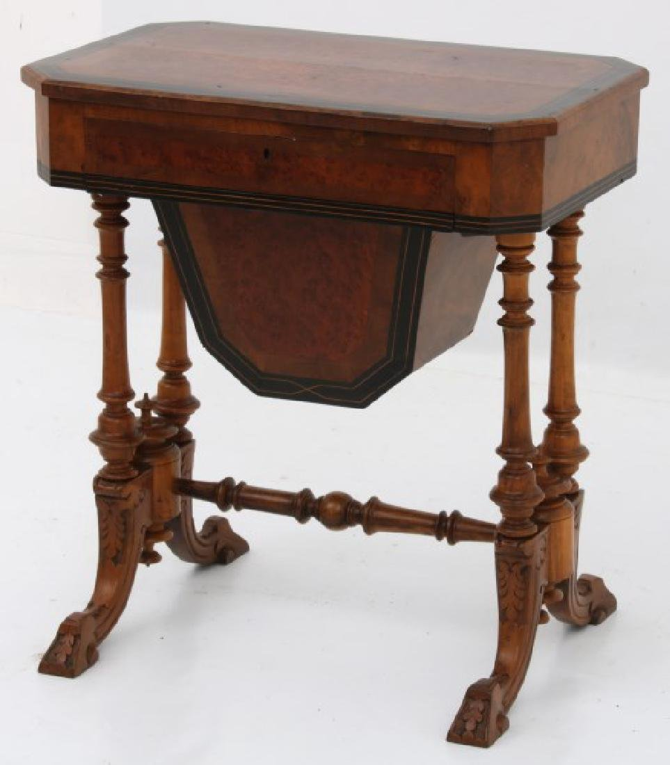 Carved Walnut 2 Dwr. Sewing Stand - 10