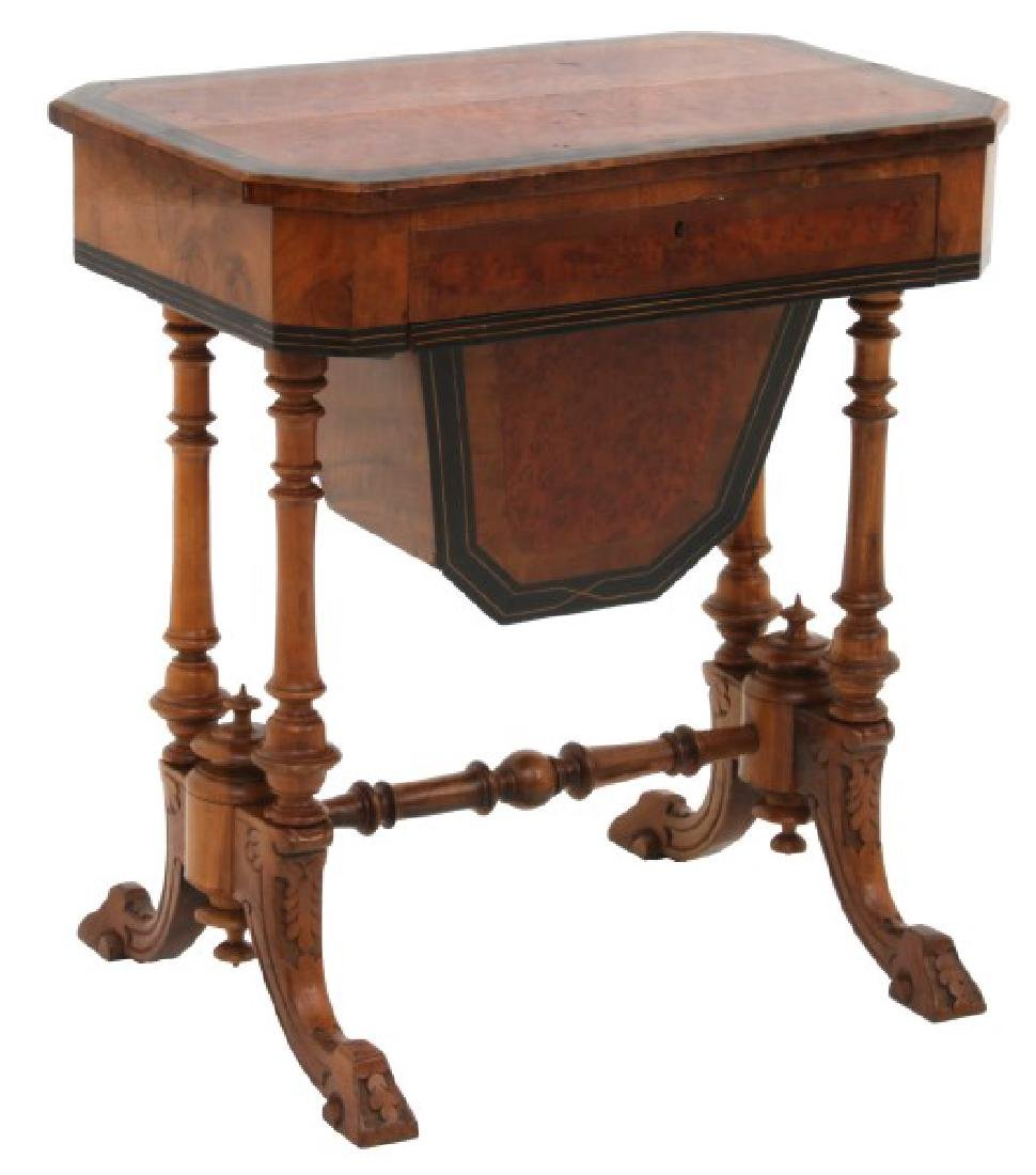 Carved Walnut 2 Dwr. Sewing Stand