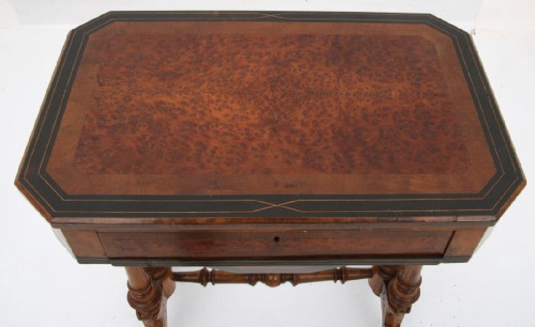 Carved Walnut 2 Dwr. Sewing Stand - 3