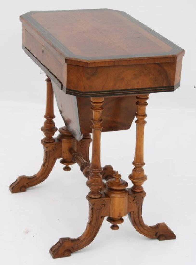 Carved Walnut 2 Dwr. Sewing Stand - 4