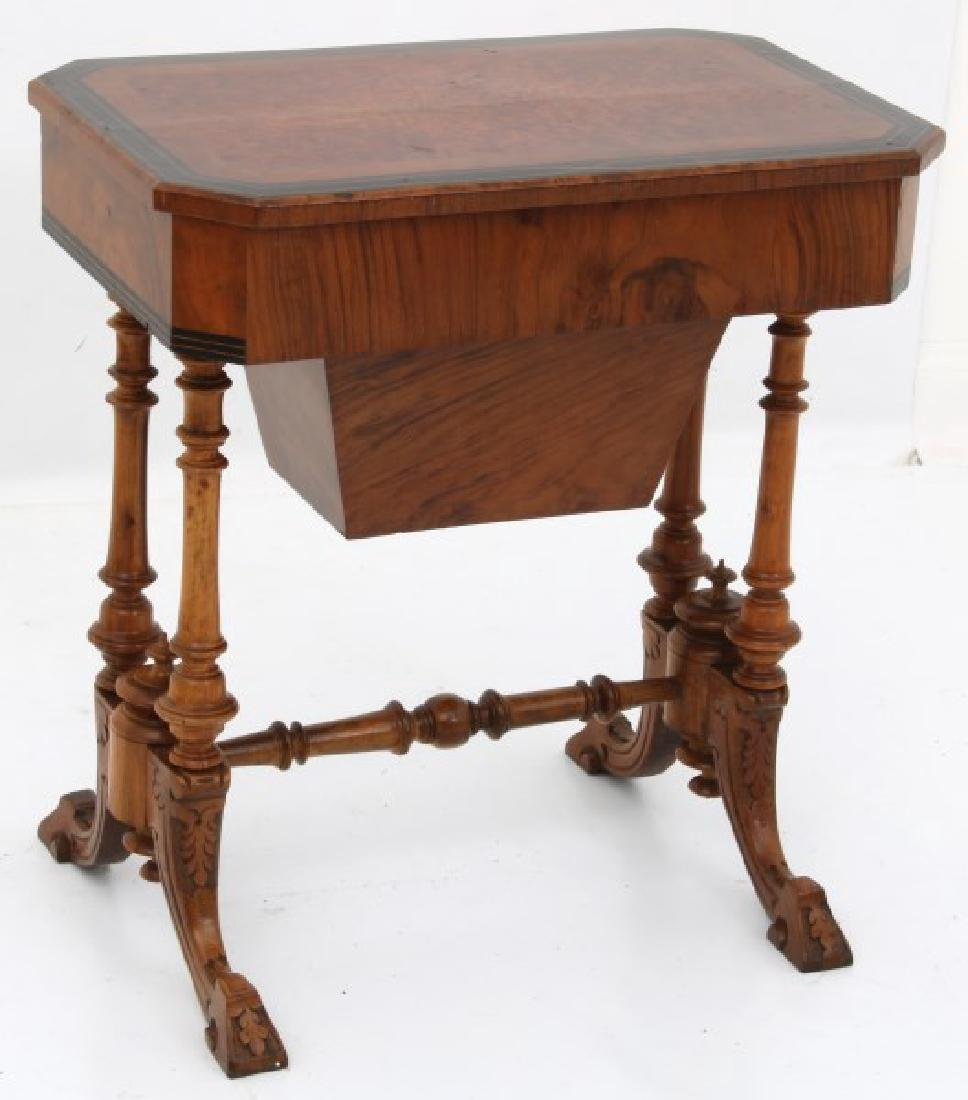 Carved Walnut 2 Dwr. Sewing Stand - 6