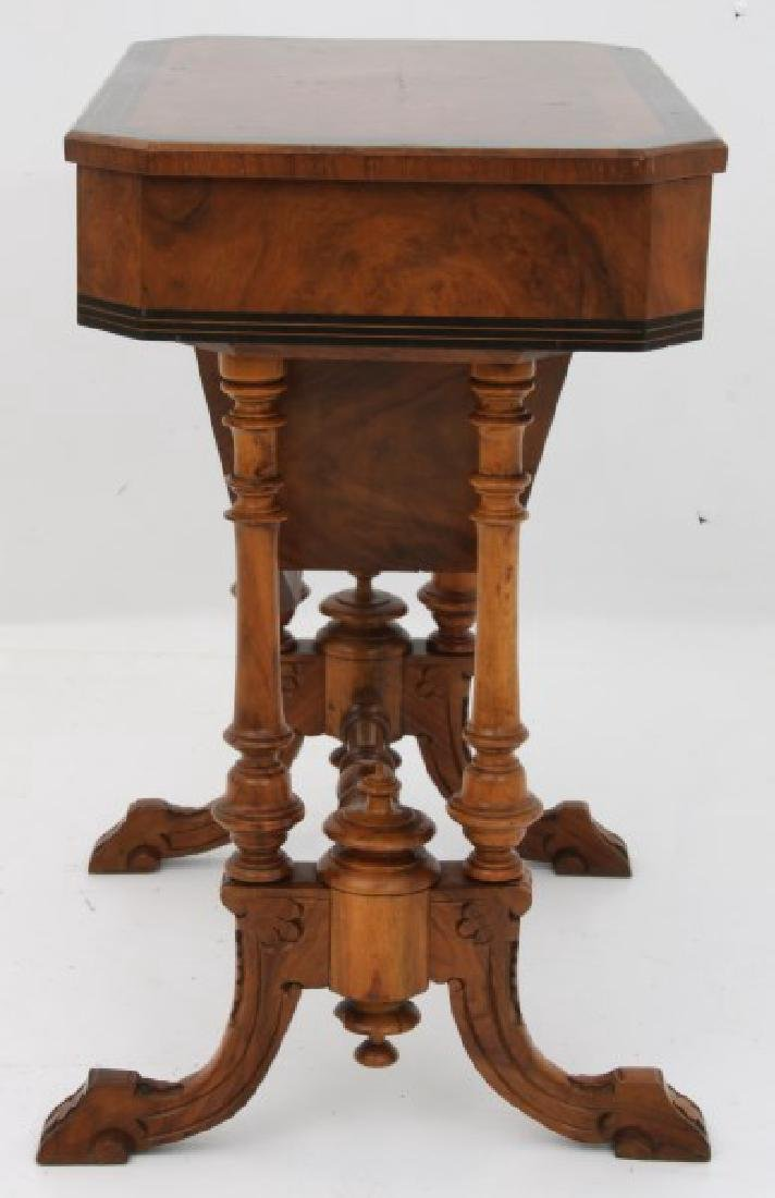 Carved Walnut 2 Dwr. Sewing Stand - 8