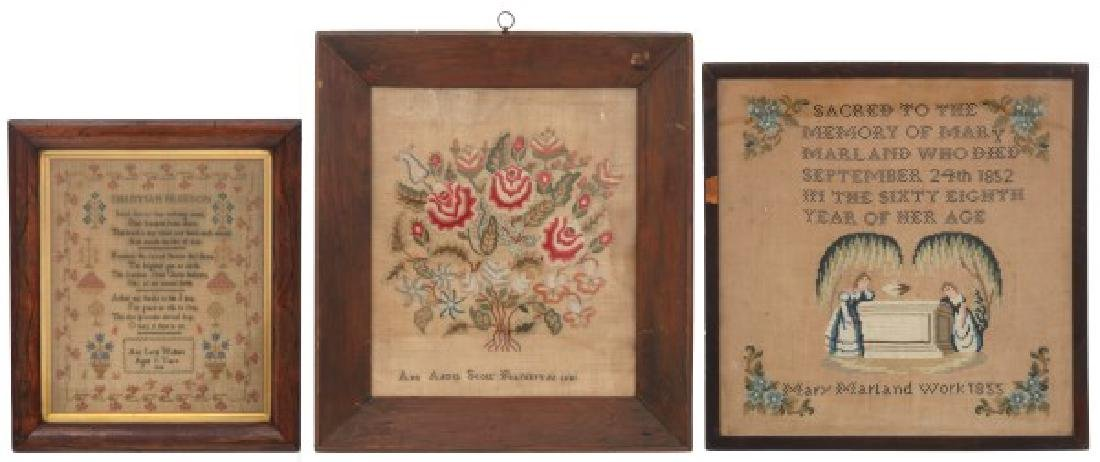 3 Framed Hand Stitched Samplers