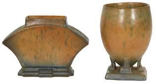 2 Pcs Roseville Pottery Futura Pattern