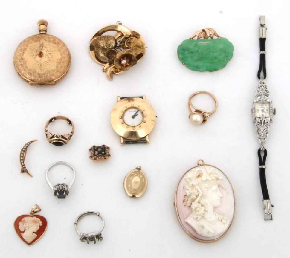 14 Pcs. Estate 14K Gold Jewelry