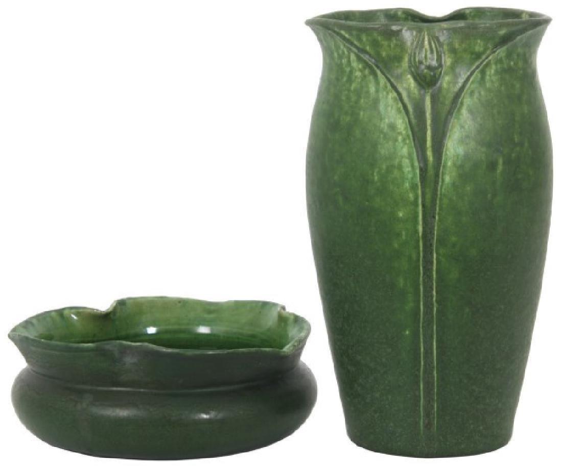 2 Pcs. Grueby Matte Green Glaze Pottery