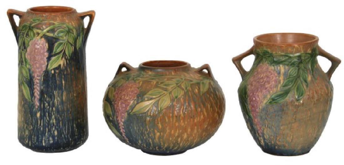 3 Pcs. Roseville Wisteria Pottery Vases
