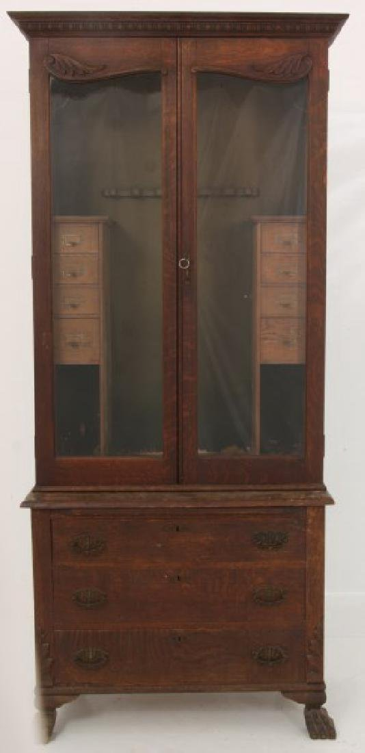 The Holt Carved Oak Step Back 2 Dr. Gun Cabinet - 10