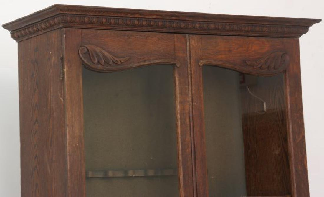 The Holt Carved Oak Step Back 2 Dr. Gun Cabinet - 3