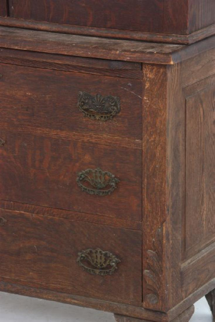 The Holt Carved Oak Step Back 2 Dr. Gun Cabinet - 5