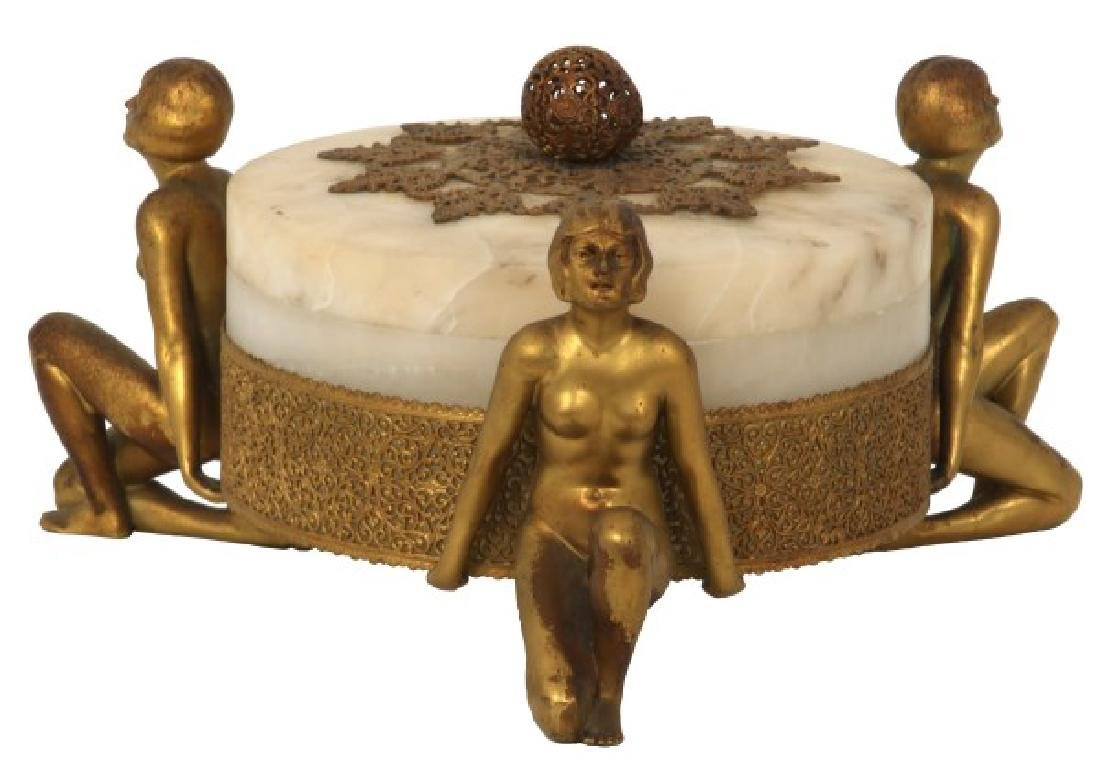 Alabaster Covered Box With Gilt Figures
