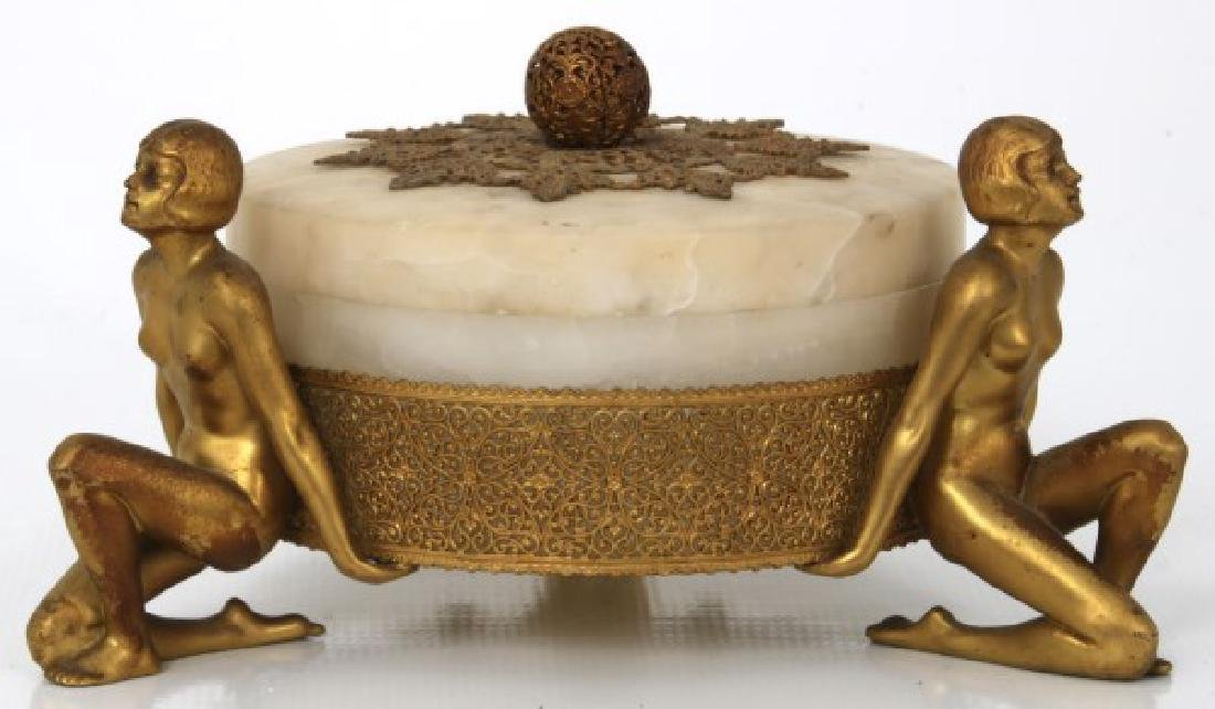 Alabaster Covered Box With Gilt Figures - 2